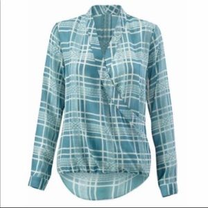 CAbi windowpane plaid front wrap blouse Style 6038